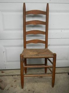 Antique Wood Ladder Back Diningroom Side Chair Woven Rush Seat Needs  Refinishing