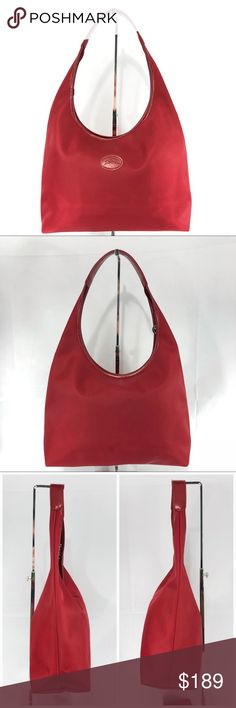 "Authentic Red Longchamp Shoulder Bag Single handle lightweight Longchamp Shoulder Bag purchased in Paris store. One interior pocket. Spot on bottom of Bag. Please see photo. Approximate dimensions are 11.5"" long, center height 9"", width 5"" with 9"" Shoulder drop. All items guaranteed authentic. No trades please. Longchamp Bags Shoulder Bags"