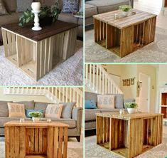 DIY Wine Wood Crate Coffee Table Free Plans - Six-Crate Coffee Table Use storage cubes tucked into crates for additional storage . blankets, pillows, magazines, remotes and gaming handles . Diy Coffee Table, Diy Table, Pallette Coffee Table, Homemade Coffee Tables, Home Improvement Projects, Home Projects, Craft Projects, Outdoor Projects, Palette Deco