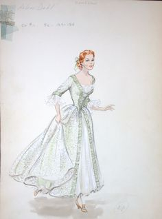 """Arlene Dahl original costume sketch for the 1952 movie """"Caribbian"""" is an unsigned by Edith Head"""