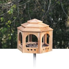 "This fly-through gazebo-style bird feeder has a simple yet attractive ""hatbox"" design. Simple for people to build, easy for their feathered friends to love."