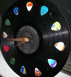 Vinyl Record Clock w/ Guitar Picks