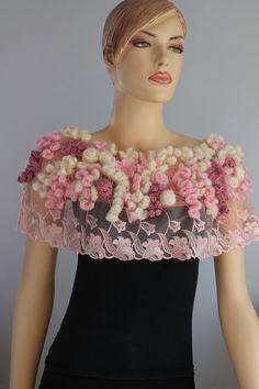 Sakura Blossom - Freeform Crochet Capelet - Wedding Shrug - Wearable Art - OOAK