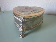 SILVER PLATED HEART SHAPED JEWELRY BOX W/ STAINED GLASS ROSE ON LID