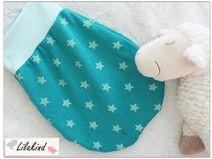Strampelsack 0-6 Monate Fleece Mint Petrol Sterne