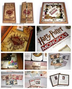 """Harry Potter Monopoly - fan made. Awesome. I made a custom """"Guess Who"""" a few years ago, idea copied from something I saw on Craftster. Might be doing a little stealing of this idea too!"""
