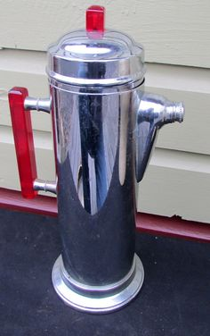 Vintage Art Deco Stainless Chrome Cocktail Shaker Pitcher with Bakelite Handle | eBay