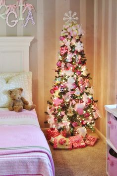 Love this little girl-themed Christmas tree—esp the pink mitten & feather trim. - Happy Christmas - Noel 2020 ideas-Happy New Year-Christmas Christmas Trees For Kids, Pink Christmas Tree, Christmas Bedroom, Christmas Tree Themes, Noel Christmas, Xmas Tree, Beautiful Christmas, Holiday Decor, Christmas Island