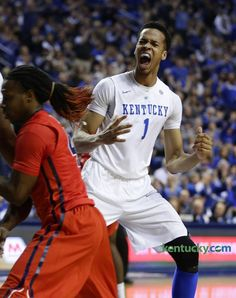 Kentucky Wildcats forward Skal Labissiere (1) got inside for a first half dunk and celebration.