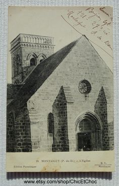 Vintage French Postcard - Montaigut Church, Puy de Dome, France by ChicEtChoc on Etsy
