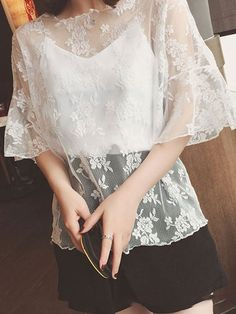 Summer Cotton Women Round Neck See-Through Floral Plain Bell Sleeve Short Sleeve Blouses See Through, Short Sleeve Blouse, Blouse Designs, Shirt Blouses, Blouses For Women, Bell Sleeves, Bodycon Dress, Lace, Floral