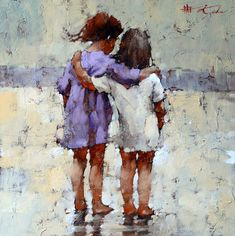 Impressionist artwork by Andre Kohn and other internationally recognized artists. Figurative oil paintings, drawings, sculpture and oversized paintings. Painting People, Figure Painting, Figure Drawing, Painting & Drawing, Friendship Paintings, Art Texture, Kunst Inspo, Encaustic Art, Portrait Art