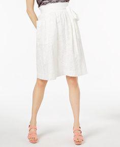 Jill Jill Stuart Tie-Detail Eyelet Skirt, Created for Macy's