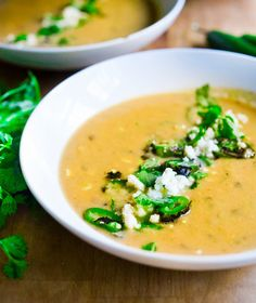 Sweet Corn Soup with Charred Jalapeño, Cilantro & Queso Fresco Recipe - RecipeChart.com