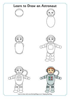 Learn to draw an astronaut @ http://www.activityvillage.co.uk/learn-to-draw-an-astronaut