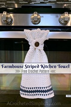 Farmhouse Striped Kitchen Towel Free Crochet Towel Pattern A Crocheted Simplicity : Free Crochet Pattern Farmhouse Striped Kitchen Towel by A Crocheted Simplicity farmhousecrochet freecrochetpattern crochetdishtowel crochetteatowel farmhousestriped Crochet Dish Towels, Crochet Towel Topper, Crochet Kitchen Towels, Crochet Potholders, Crochet Stitches, Crochet Dishcloths Free Patterns, Crochet Placemats, Crochet Edgings, Cross Stitches