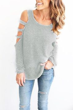 Light Grey Casual Round Neck Cold Shoulder Top