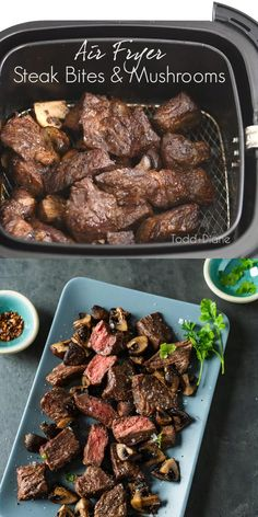 Best air fried steak bites in the air fryer! We're obsessed with making these steak tips or steak cubes cooked to perfection by air frying them. Air Fryer Dinner Recipes, Pork Recipes For Dinner, Air Fryer Recipes, Fried Mushroom Recipes, Sausage Recipes, Beef Recipes, Beef Cubed Steak, Air Fry Steak, Cube Steak Recipes