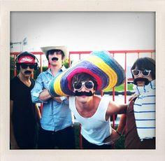Parachute + mustaches + sombrero