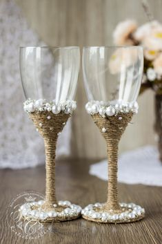 Vintage Chic WHITE Wedding glasses with light brown rope\ pearl\crystals\ handmade\ crystals and pearls wedding \wine glasses\Rustic