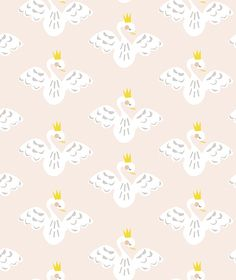Papier peint bébé fille cygnes