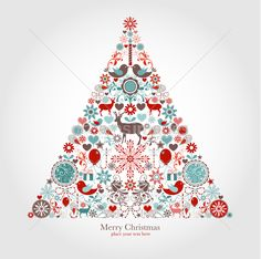 Colorful Merry Christmas tree shape with reindeers and holiday items composition by Onfocus on dreamsimages.com