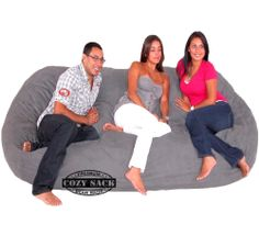 Bean Bag Chair Love Seat By Cozy Sac Micro Suede 8' Grey Huge Large Sack $279