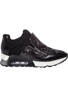 Ash Lennox Tribal Embossed Sneaker Black Leather - Jildor Shoes, Since 1949