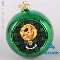 Campbell Clan Crest and Tartan Christmas Ornament. Free worldwide shipping available