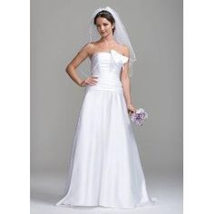 Strapless Satin Gown with Bow and Ruched Bodice Style SAS1208, Ivory