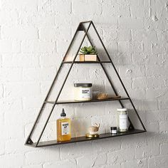 Shop a-frame triangle wall shelf. Equilateral triangles shape up your collections and finds with dimension in iron. Tri-level shelves make your point wall-mounted up or down—we like alternating directions in multiples. Living Room Shelves, Home Decor Mirrors, Decor, Triangle Wall, Floating Shelves, Wall Decor, Modern Wall Decor, Frame Shelf, Modern Shelving