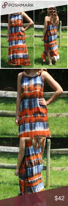 "Orange Navy Tie Dye Maxi Dress Orange Navy Tie Dye Maxi Dress  Scoop Neckline Sleeveless Tie Dye Maxi Dress, With Side Leg Slit. 100% Rayon    Description for small: Length: 53"" Bust: 34"" Waist: 36"" Fits true to size B Chic Boutique Dresses Maxi"