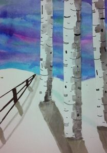 winter trees from It is Art Day!  i like the idea of perspective fences