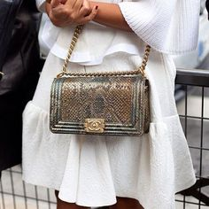 Chanel Boy Bag (looks like it might be python or snakeskin??)