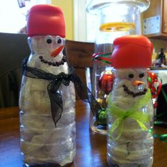 Snowmen out of coffee creamer bottles. I saw this where they painted bottles. We tried that, but paint flaked off, so we stuffed instead with tissue paper (could have used cotton balls too!).