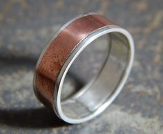 Rustic Silver & Copper Wedding Band: sterling - one of a kind artisan design - silver ring - handcrafted in half sizes for a custom fit.