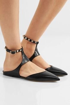 Valentino - The Rockstud Leather Point-toe Flats - Black - IT