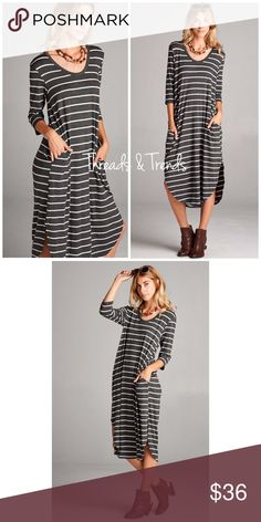 3e355d705f Casual Striped Maxi Dress On trend charcoal and white striped maxi dress .  Featuring hidden pockets