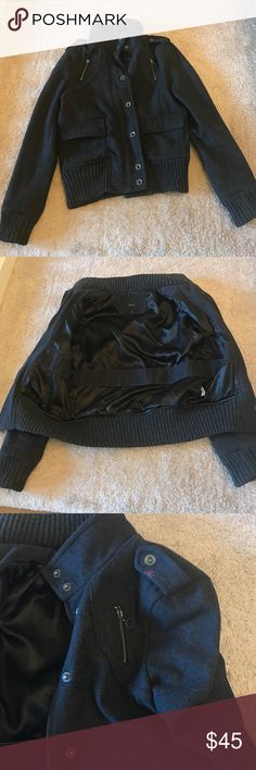 Express charcoal Moto jacket Size M express moto jacket. Wool blend. This jacket is pre loved but still in good condition minimal pilling. Lining is clean and in good condition. There is a stain on the left shoulder and back right side of jacket. Not super noticeable when wearing. I loved this jacket but it is now to big for me. Express Jackets & Coats