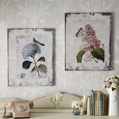 Pretty flowers and birds rustic slatted wooden pictures. The serenity Prayer fadded script. Easy to hang with strong wall fixings. Vibrant colours.
