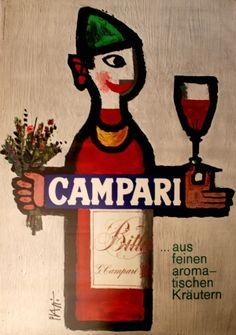 Campari Piatti, 1966 - original vintage poster by Piatti Celestino listed on AntikBar.co.uk