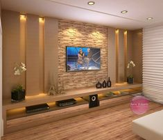 False Ceiling Home Modern false ceiling diy interior design. False ceiling living room False Ceiling Home Modern false ceiling diy interior design. Cozy Family Rooms, Family Room Design, Living Room Tv Unit Designs, Tv On Wall Ideas Living Room, Wallpaper For Living Room, Bedroom Tv Unit Design, Stone Wall Living Room, Ceiling Design Living Room, Living Room Lighting