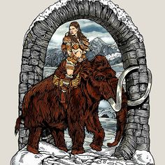 Rider Mammoth #art #pinup #fantasy #sciFi #mammoth #mastodon #Pleistocene #iceage #caveman #cavegirl #snow #snowscape Ewinter #Winterscape #artist #art #draw #drawing