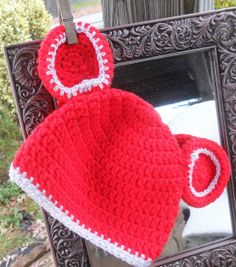 Crocheted Christmas Mickey Mouse Ears Beanie Will Make by HahnMade, $10.00