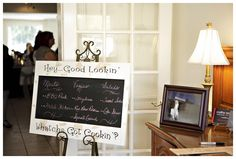 """Buffet Sign on chalk board. """"Hey good lookin what you got a cooking? Hey Good Lookin, Chalk Board, Chalkboard Quotes, Diy Wedding, Art Quotes, Buffet, Boards, Sign, Lettering"""
