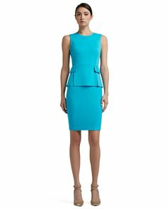 Milano Knit Vented Peplum Bodice Dress With Nouveau Boucle Skirt and Pocket Flaps, Turquoise by St. John Collection at Neiman Marcus.