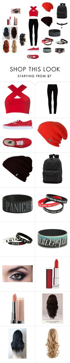 """""""Untitled#8"""" by skatergirl0507 ❤ liked on Polyvore featuring Motel, J Brand, Vans, ThirtyTwo, Maybelline, WigYouUp and INDIE HAIR"""