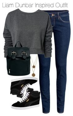 A fashion look from August 2014 featuring dark grey sweatshirt skinny leg jeans and puma trainers. Browse and shop related looks. Teen Wolf Fashion, Teen Wolf Outfits, Nerd Outfits, Casual School Outfits, Nerd Fashion, Fandom Fashion, Fandom Outfits, Cute Casual Outfits, Simple Outfits