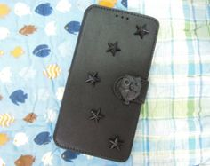 Samsung Galaxy Note 4 Case- OWL and Star Studded Black Samsung Galaxy Note 4 Case /Credit Card Holder / Strap Phone Case