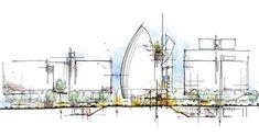 Renzo Piano , Jean Marie Tjibaou Cultural Center, Noumea, New Caledonia,. Architecture Concept Diagram, Architecture Drawings, Architecture Plan, Architecture Details, Landscape Architecture, Renzo Piano, Model Sketch, Famous Architects, Sketch Design